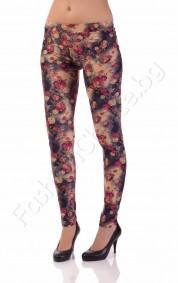 Дамски клин с флорални мотиви в лилаво, бежево или циклама