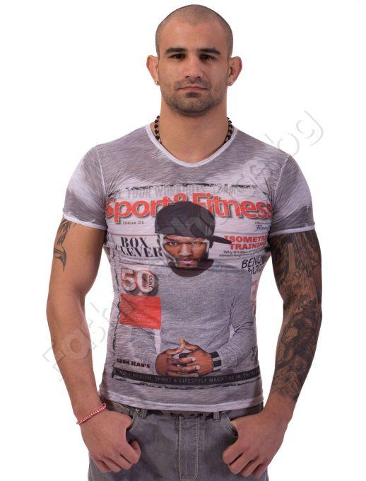 """Мъжка тениска """"50 CENT"""" в светло сиво/светло синьо"""