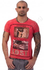 Мъжка тениска INSPIRE MORFINE в корал, оранж, синьо и сиво