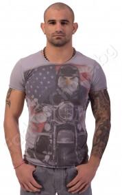 Мъжка тениска MORFINE в бяло с американския флаг