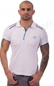 Мъжка тениска с якичка NR и котва в бяло, синьо и т.синьо