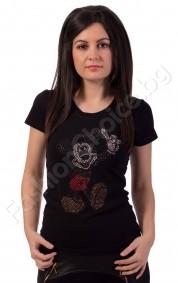 Дамска блуза в бяло или черно с Mickey от камъчета