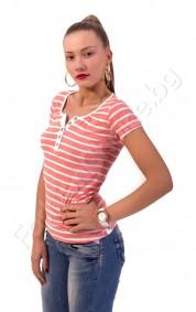 Блуза с къс ръкав на райета с метални копчета в два цвята