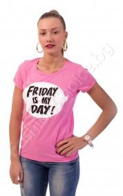 """Дамска блуза """"Friday is my day"""" в три цвята"""