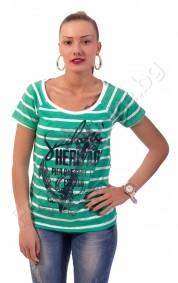 Дамска блуза с котва на райета в три цвята