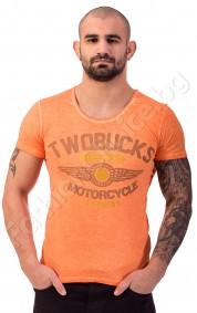 """Мъжка тениска """"TWOBUCKS MOTORCYCLE"""" в оранжево и бежево"""