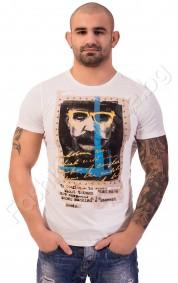 Мъжка тениска с щампа и капси в четири цвята