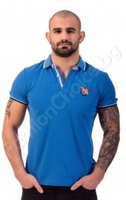 Мъжка тениска с якичка и емблема N-R в синьо