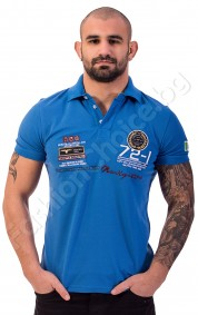 Мъжка тениска с якичка NORTHERN REBEL-72 в циклама и синьо