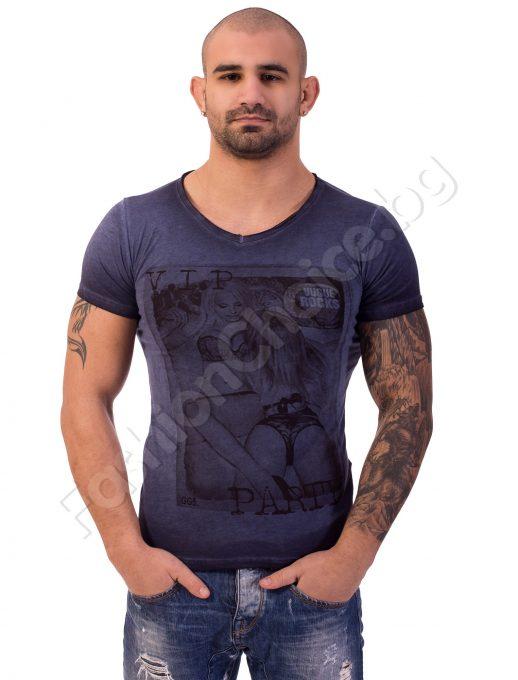 Мъжка тениска V.I.P Party в розово, синьо и тютюн