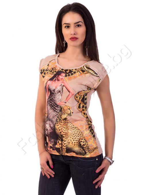 Дамска блуза с тигрови и златни акценти в три цвята