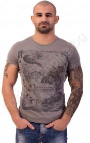 Мъжка тениска с череп и цветя