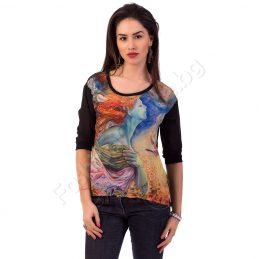 """Дамска блуза """"Рисунка"""" с бял или черен гръб"""