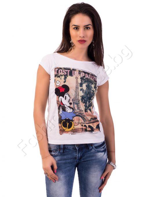 Дамски т-шърт в бяло с Minnie Mouse