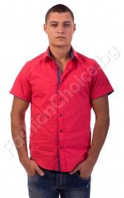Мъжка риза с къс ръкав в корал на точки