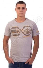 Мъжка тениска с надпис Crosshatch в сиво и тъмносиньо