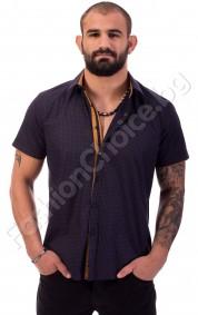 Мъжка риза с къс ръкав в тъмно синьо на точки