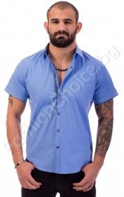 Мъжка риза с къс ръкав в синьо на точки
