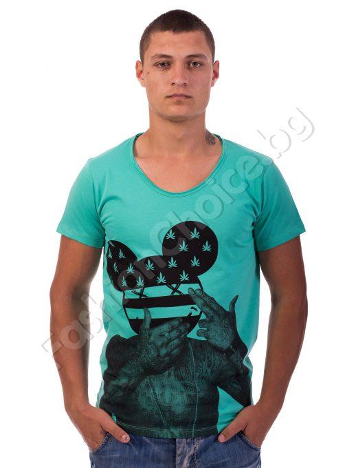 Мъжка тениска Мики в бяло, сиво и резеда