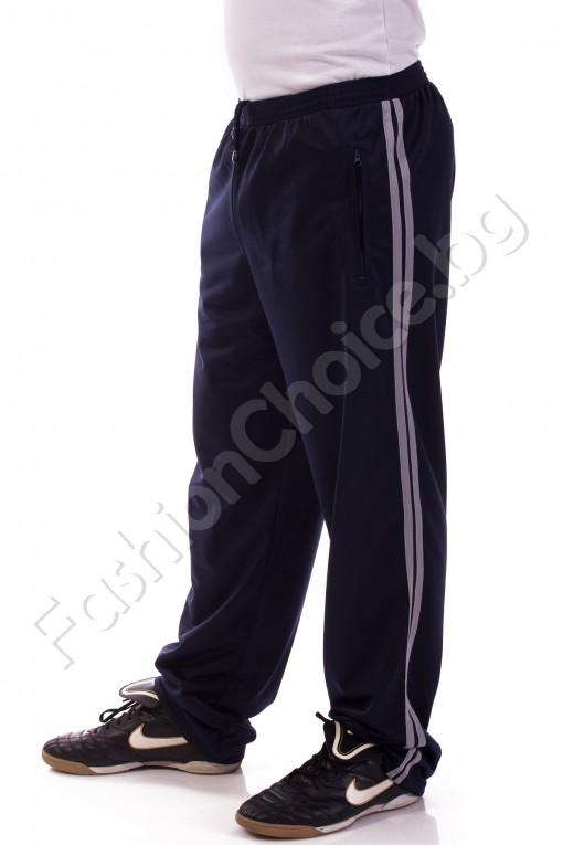 Мъжко спортно долнище в синьо с ленти отстрани