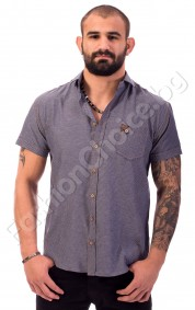 Мъжка риза с къс ръкав на точки в сиво