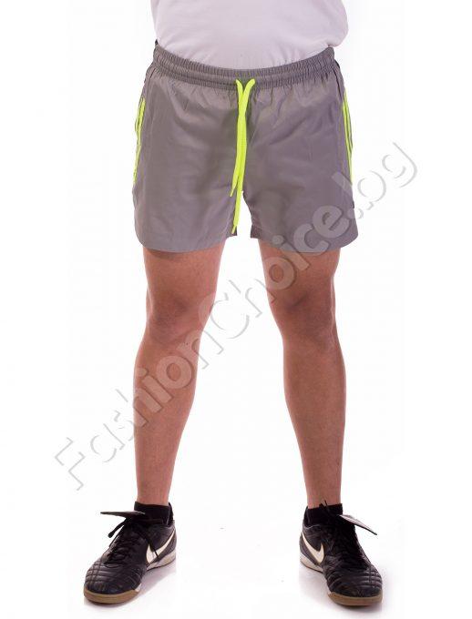 Панталони тип шорти с бандаж в светло сиво със зелени кантове