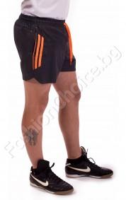 Панталони тип шорти с бандаж в тъмно сиво с оранжеви кантове