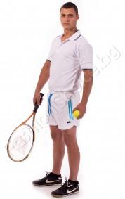 Къси панталони тип шорти с бандаж в бяло със сини кантове