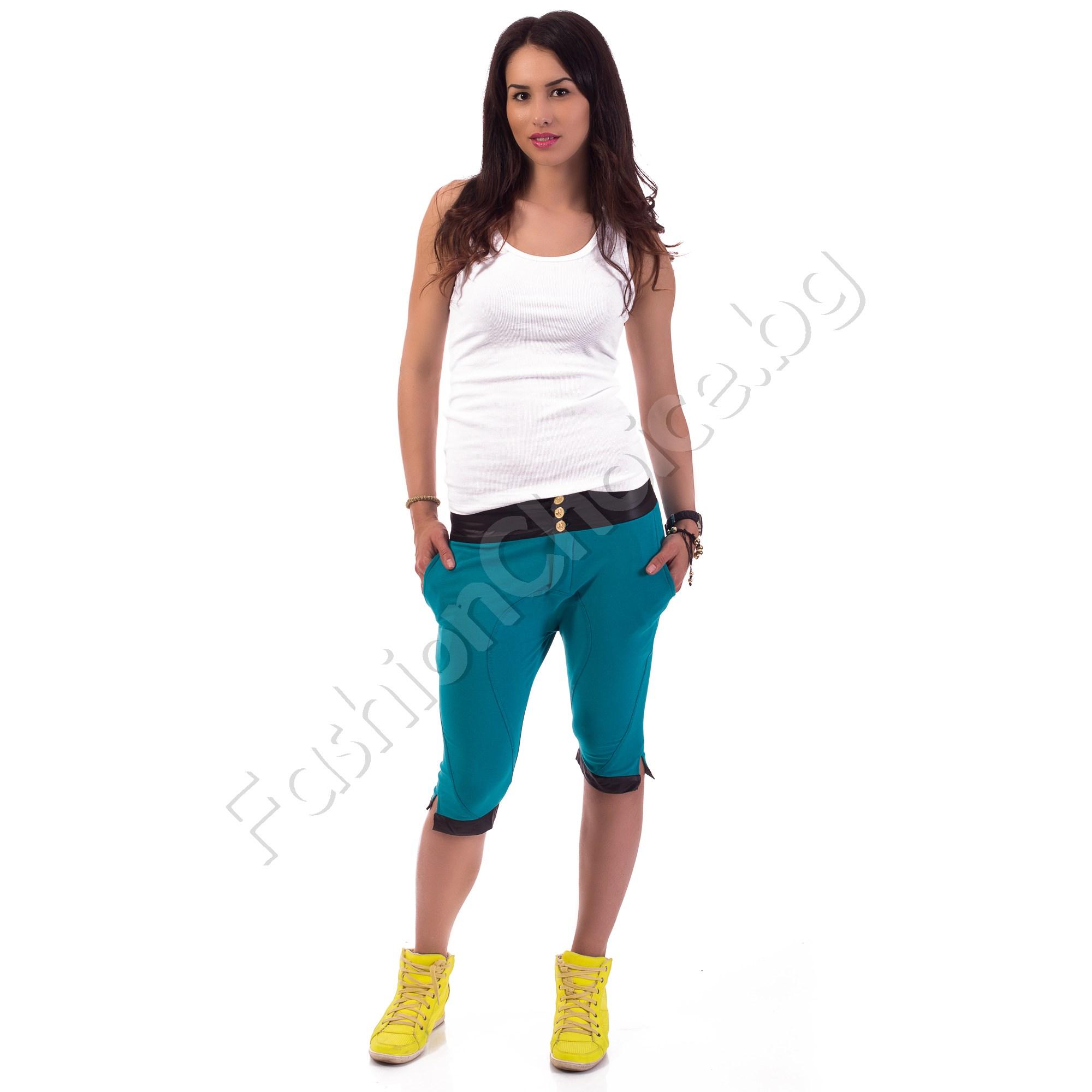 3/4 панталон лек потур със златисти копчета в три цвята