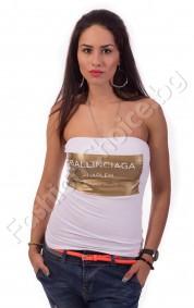 Бюстие с надпис BALLINCIAGA в черно и бяло
