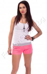 Шортички в розово или бяло с цветно коланче