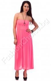 Дълга рокля без презрамки в розов неон