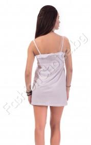 Бяла памучна рокля с котва