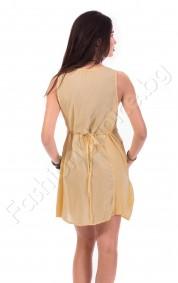 Едноцветна дамска рокля с джобове в пет цвята
