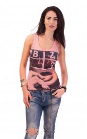 Дамски потник от памук с щампа IBIZA в розово