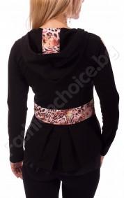 Дамско горнище с качулка, кант от цветя и тюл