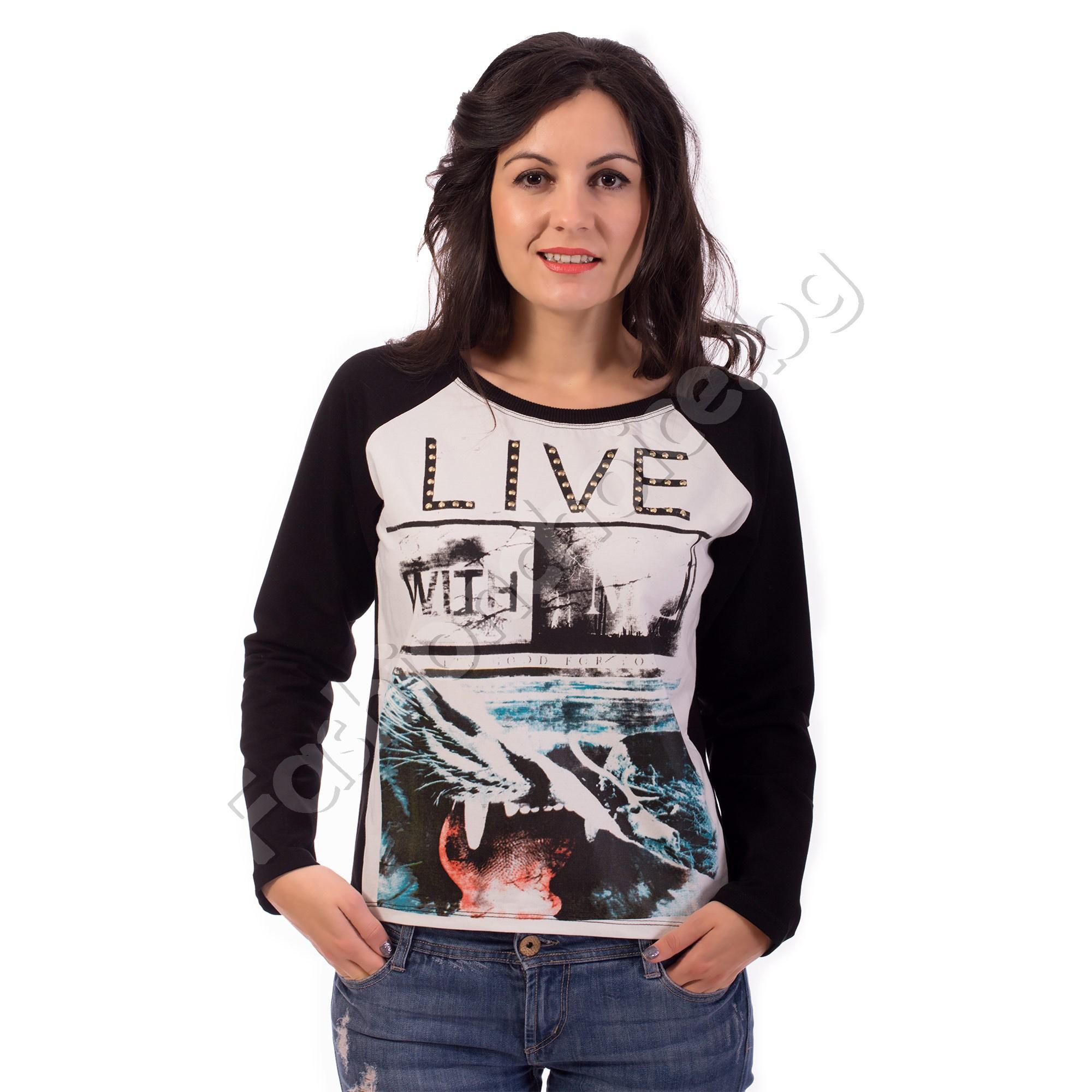 21826372053 Българска памучна дамска блуза с дълъг ръкав LIVE