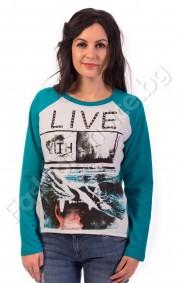 Българска памучна дамска блуза с дълъг ръкав LIVE