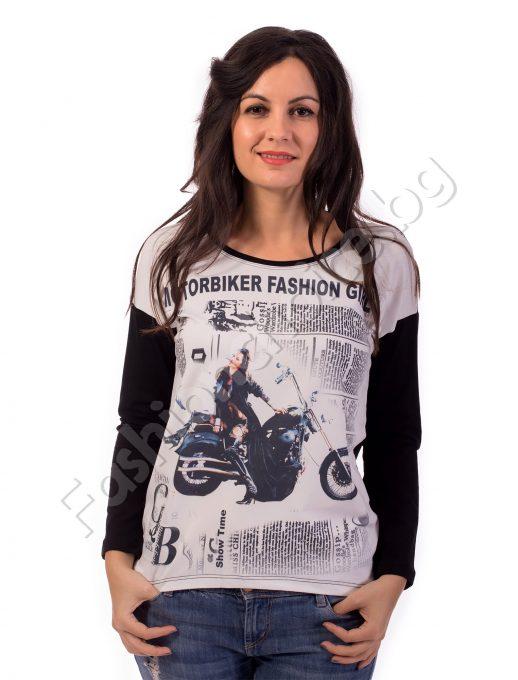 Дамска блуза с ефектна щампа MOTORBIKER FASHION GIRL