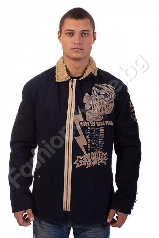Мъжко яке от плат в бежово или тъмносиньо с яка от каракул