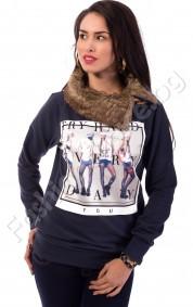 Дамска блуза с яка от косъм TRY HARD EVERY DAY