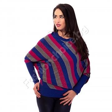 Дамска блуза с три цвята райета и камъчета
