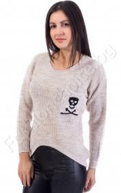 Дамски пуловер с джобче с череп, различни цветове