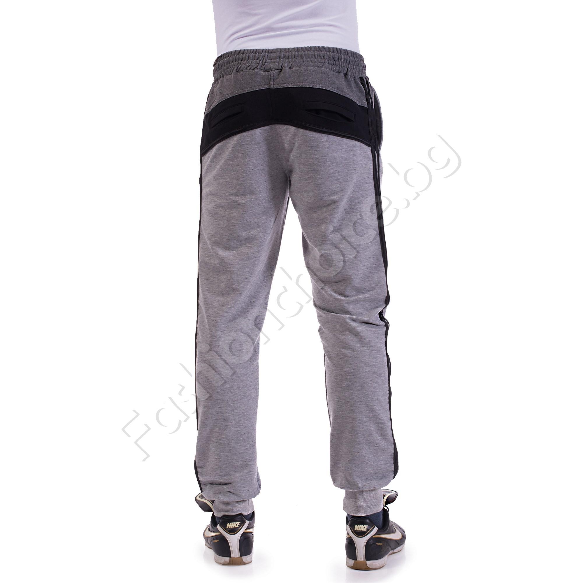 Мъжко спортно долнище с емблема от трико в три цвята