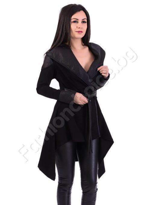 Нестандартна връхна дреха, асиметричен модел в черно