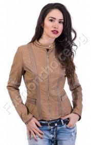 Късо дамско яке в черно или капучино с акценти от мрежа