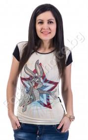 Дамска блуза с камъчета Бъгс Бъни /къс ръкав/