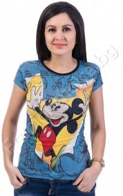 Актуална дамска блуза с къс ръкав Mickey Mouse