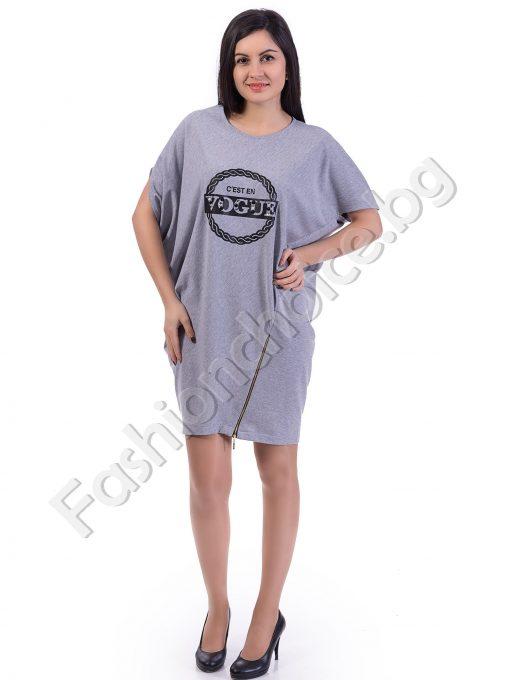 Дизайнерска рокля/туника в пет цвята с асиметричен цип