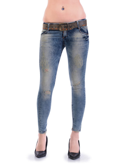 Дамски дънки с фабрично изтъркан и накъсан ефект